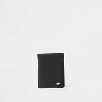 River Island Black leather wasp fold out card holder