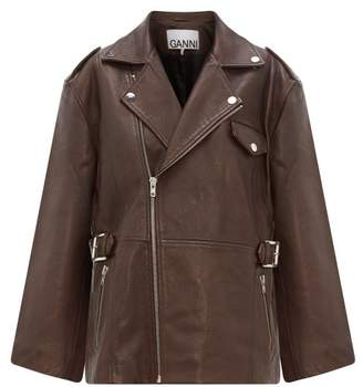 Ganni Oversized Grained-leather Biker Jacket - Womens - Dark Brown
