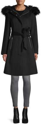 Karl Lagerfeld Paris Faux Fur-Trim Wool-Blend Coat