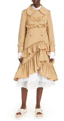 Simone Rocha Ruffle Double Breasted Trench Coat
