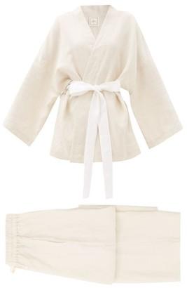 Deiji Studios 01 Long Linen Pyjama Set - Beige
