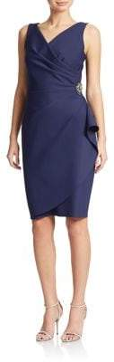 Alex Evenings Pleated Surplice Sheath Dress