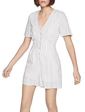 BCBGeneration Striped Button-Front Romper