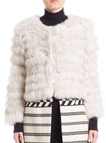 Alice + Olivia Fawn Rabbit Slive Fox Fur Jacket