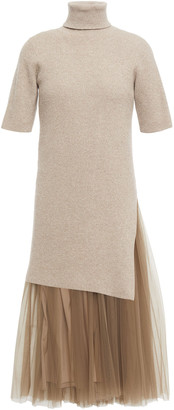 Brunello Cucinelli Layered Metallic Ribbed Cashmere And Tulle Dress
