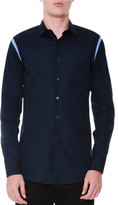 Alexander McQueen Cutout-Trim Button-Down Woven Shirt, Navy