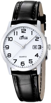 Lotus Women's Quartz Watch with White Dial Analogue Display and Black Leather Strap 18240/1