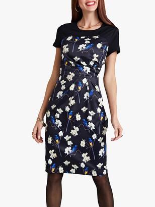 Yumi Oriental Bird Dress, Black