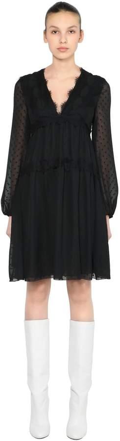 Giamba Polka Dot Chiffon Mini Dress W/ Lace