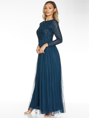Quiz Hand Embellished Sequin Long Sleeve Tulle Maxi Dress