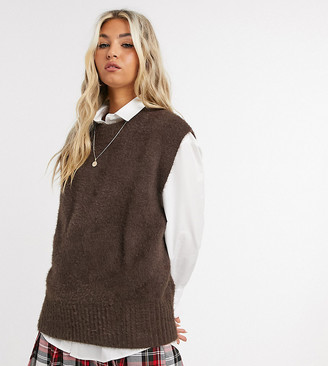 Collusion fluffy knitted vest in brown