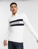 Tommy Hilfiger chest logo half zip mock neck jumper in white