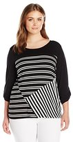 NY Collection Women's Plus Size 3/4 Sleeve Roll Tab Scoop Neck Stripe Pullover