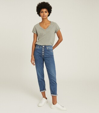 Reiss Bailey - Mid Rise Slim Cropped Jeans in Mid Blue
