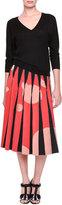 Bottega Veneta Inverted-Pleat Bubble-Print Midi Skirt, Black/Red/Orange