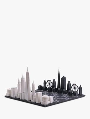 Skyline Chess New York City versus London Wood Board Chess Set