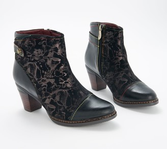 Spring Step L'Artiste by Leather Combo Ankle Boots- Socute