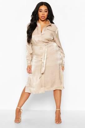 boohoo Plus Metallic Shirt Midi Dress
