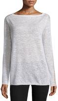 Halston Bateau-Neck Long-Sleeve Sweater, Linen White