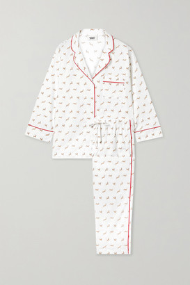 Sleepy Jones Marina Printed Cotton-poplin Pajama Set - White