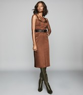 Reiss MADELEINE STRUCTURED BODYCON DRESS Chocolate