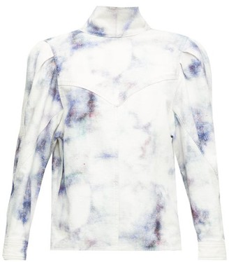 Isabel Marant Espera Tie-dye Denim Top - Blue White