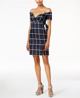 J.o.a. Plaid Off-The-Shoulder Dress