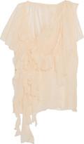 Marques Almeida Marques' Almeida Ruffled one-shoulder silk top