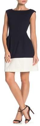 Vince Camuto Two-Tone Fit & Flare Scuba Dress (Regular & Plus Size)