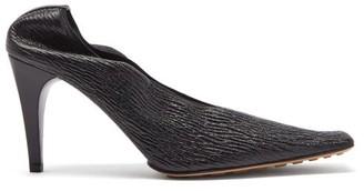 Bottega Veneta Square-toe Crackled-leather Pumps - Womens - Black