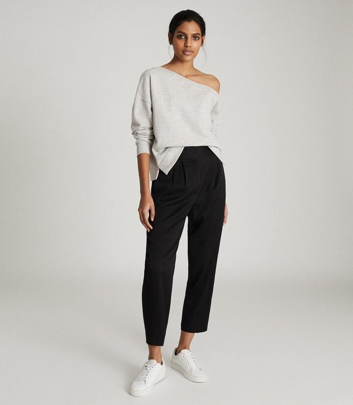 Reiss Poppy - Off-the-shoulder Loungewear Sweatshirt in Grey Marl