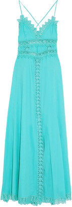 Charo Ruiz Ibiza Imogen Crocheted Lace-trimmed Cotton-voile Maxi Dress
