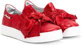 Simonetta bow detail slip-on sneakers - kids - Goat Skin/Leather/rubber - 25