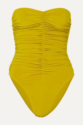 Norma Kamali Slinky Marissa Ruched Bandeau Swimsuit - Chartreuse