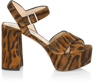 Prada Crisscross Leopard-Print Suede Platform Sandals