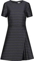 Suno Pleated printed silk-blend satin mini dress