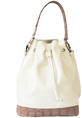 """Kartu Studio Natural Leather Bucket Bag """"Myrtle"""" White Beige Croc Print Details"""