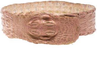 Roberto Cavalli Pink Crocodile Back Horn Waist Belt M