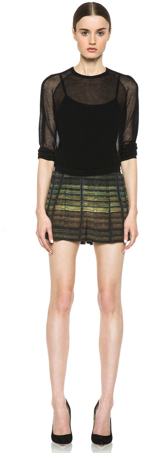 Theyskens' Theory Iding Pung Shorts in Green Multi