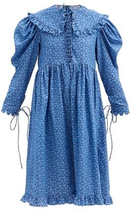Horror Vacui Lisi Floral-print Cotton-corduroy Dress - Blue