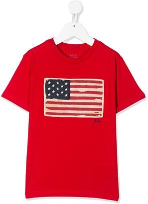 Ralph Lauren Kids flag applique T-shirt