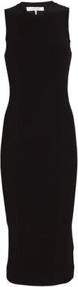 Frame Cut-Out Rib Knit Midi Dress