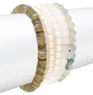 Sydney Evan Small Hamsa Diamond, Faux Pearl& 14K White Gold Beaded Pendant Bracelet