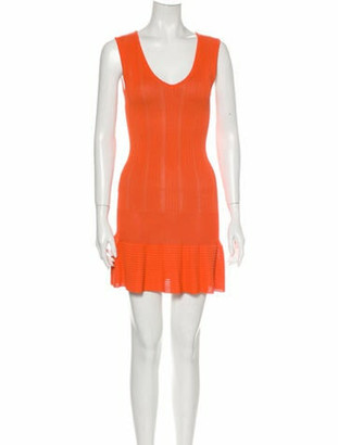 Alaia Scoop Neck Mini Dress Orange