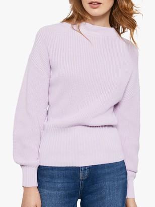 Mint Velvet Chunky Knit Cotton Jumper, Light Purple