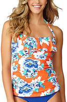 Leilani Tangerine Sea Drift Floral San Jose Halter Tankini Top