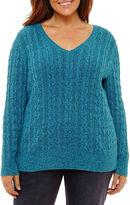ST. JOHN'S BAY St. John's Bay Long Sleeve V Neck Pullover Sweater-Plus