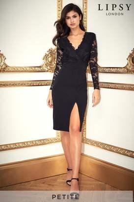 Lipsy Petite Lace Top Midi Dress - 6 - Black