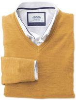 Charles Tyrwhitt Yellow Merino Wool V-Neck Sweater Size Small