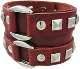 Zeckos Leather Double Chrome O Ring Wristband Bracelet